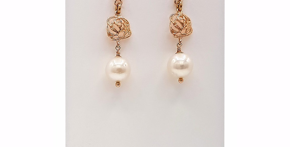 pearl drop earrings front view