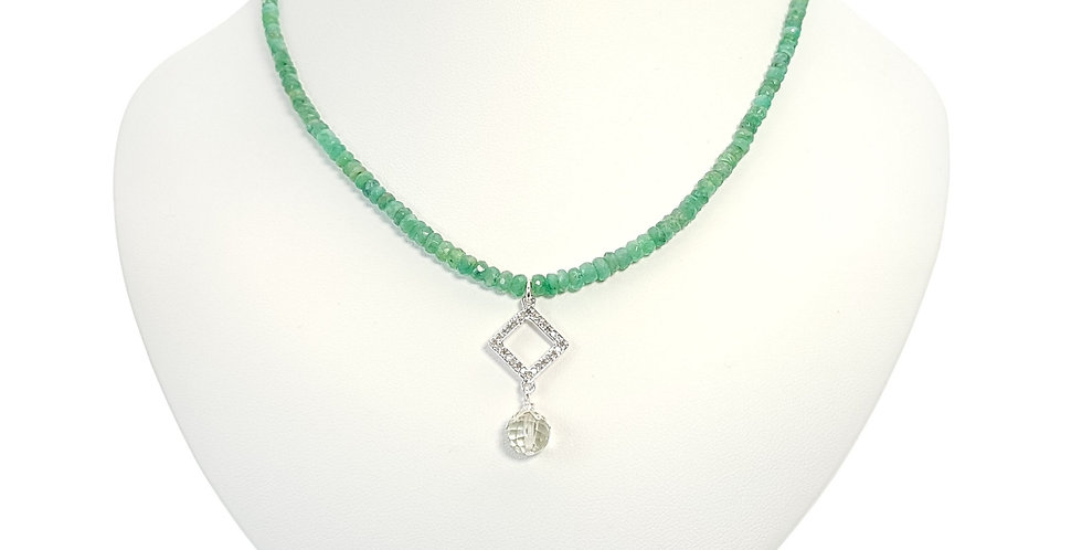 Emeralds, Diamonds, Green Amethyst and Sterling Silver Necklace on display bust
