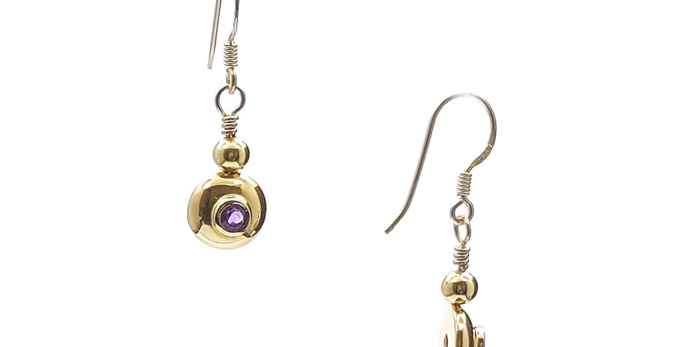 amethyst and gold plated sterling silver earrings