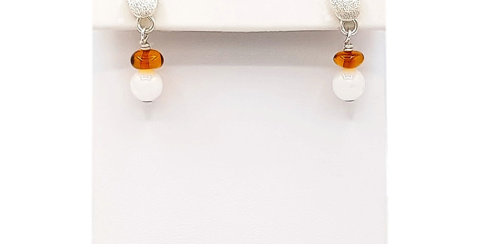 baltic amber and mother of pearl earrings front view