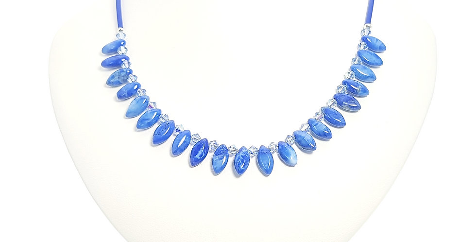 howlite and Swarovski crystals necklace on display stand
