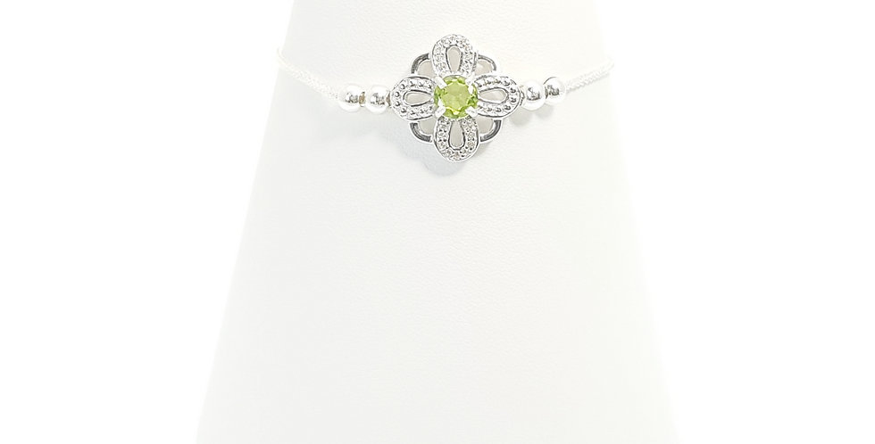 peridot, white topaz and sterling silver slider bracelet front view