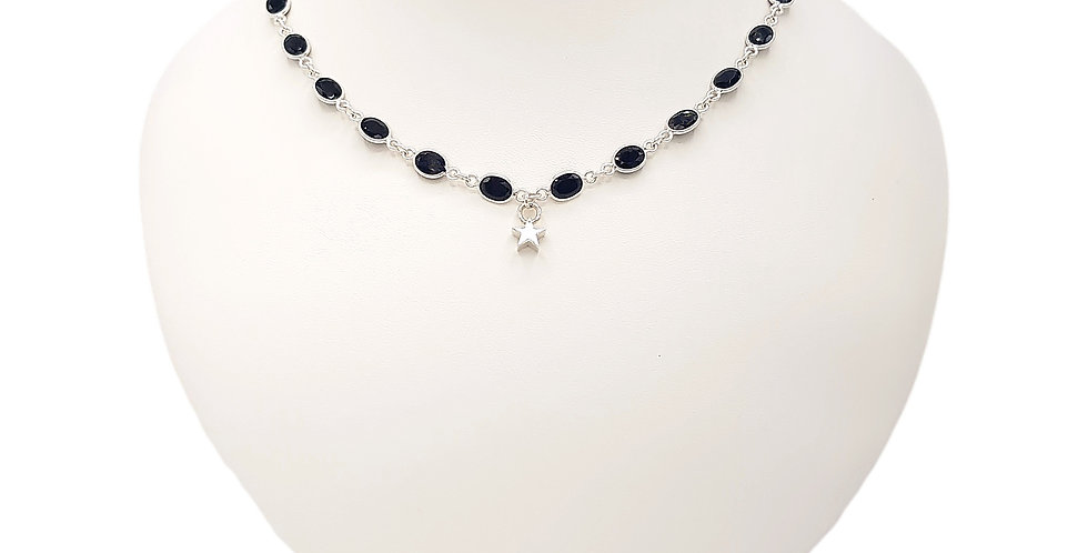 black spinel necklace front view