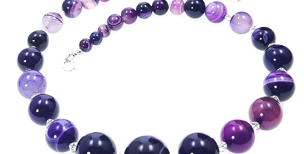 shaded purple agate and Swarovski crystals necklace