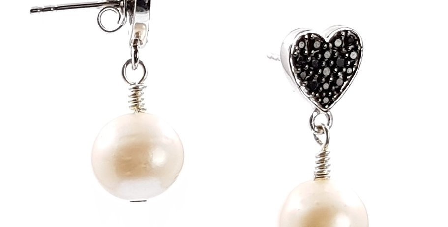 pearl, sterling silver and black spinel heart earrings