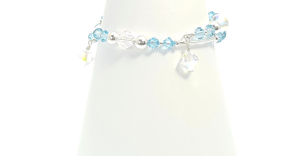blue wrap around sterling silver bracelet front view