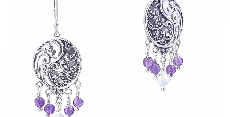 Amethyst, Swarovski Crystals and Sterling Silvetr Earrings