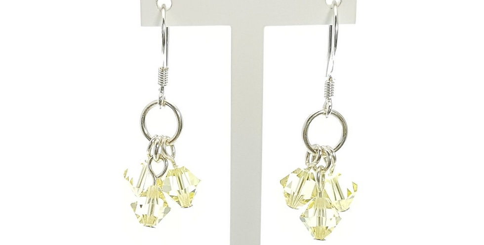 Sterling Silver and Lemon Swarovski Crystals Earrings on display stand