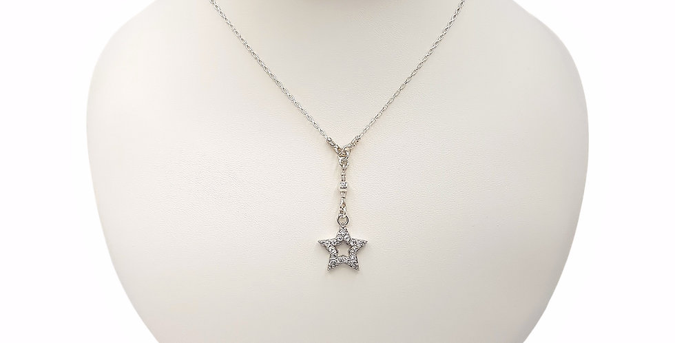 white topaz star necklace front view