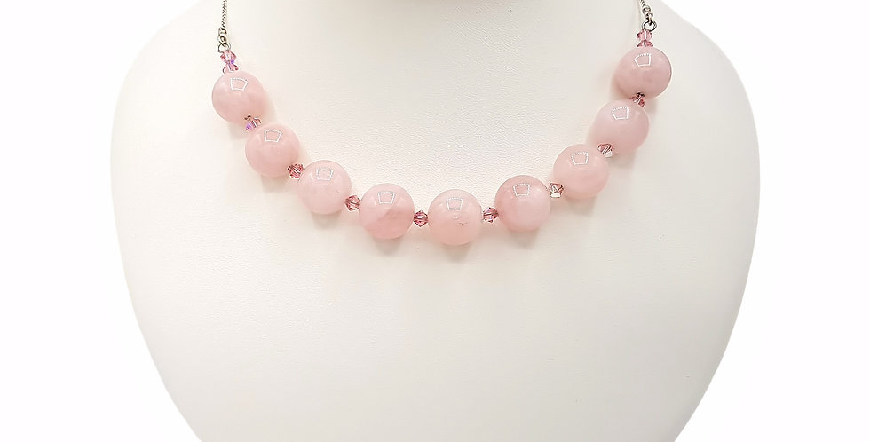 rose quartz and Swarovski crystal necklace front view