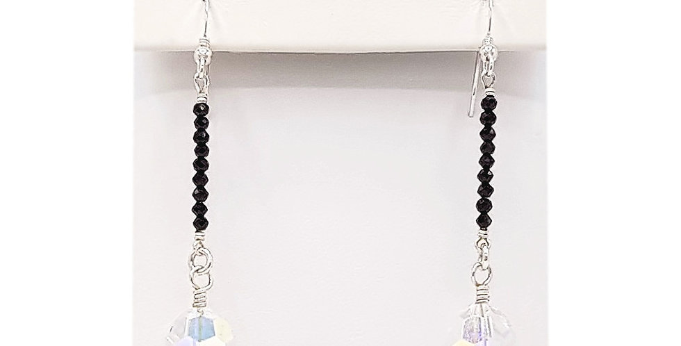 black spinel sterling silver earrings front view