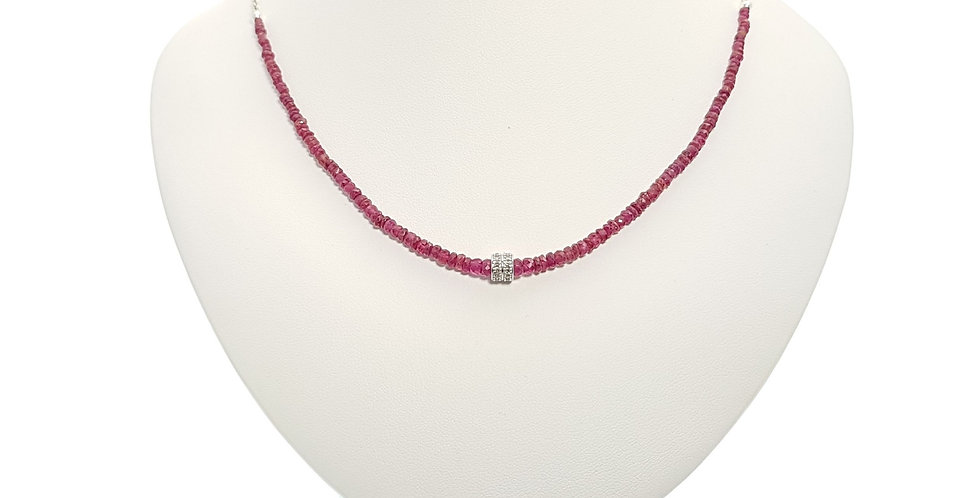 Rubies, Diamonds and Sterling Silver Necklace on display bust