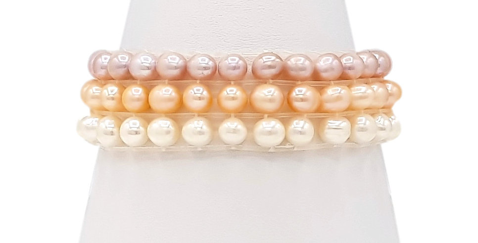 three row, three colour pearl stretch bracelet front view
