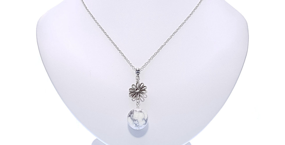 Magnesite and Sterling Silver Flower Pendant and Chain