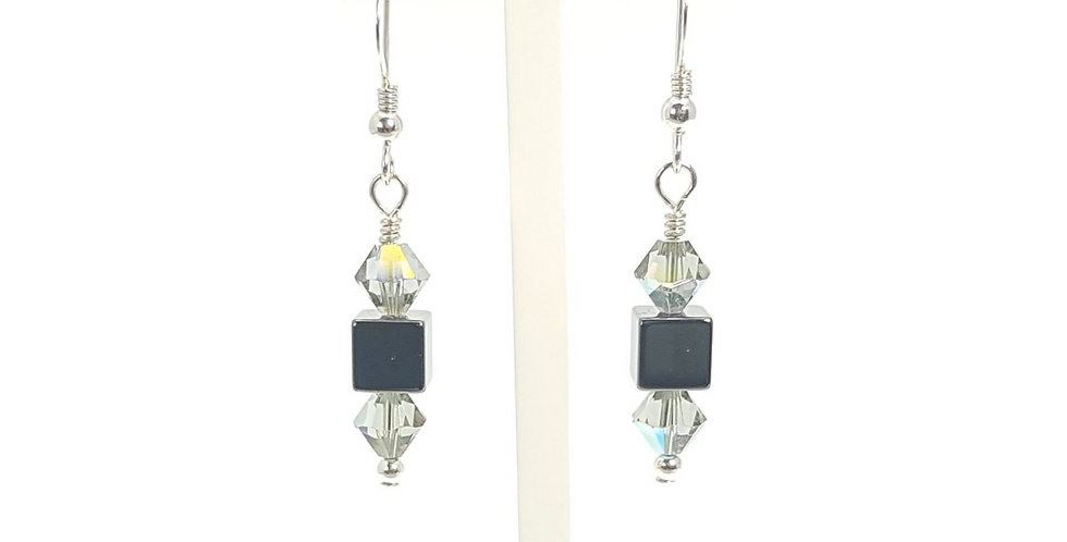 Hematite, Grey Swarovski Crystals and Sterling Silver Earrings on display stand
