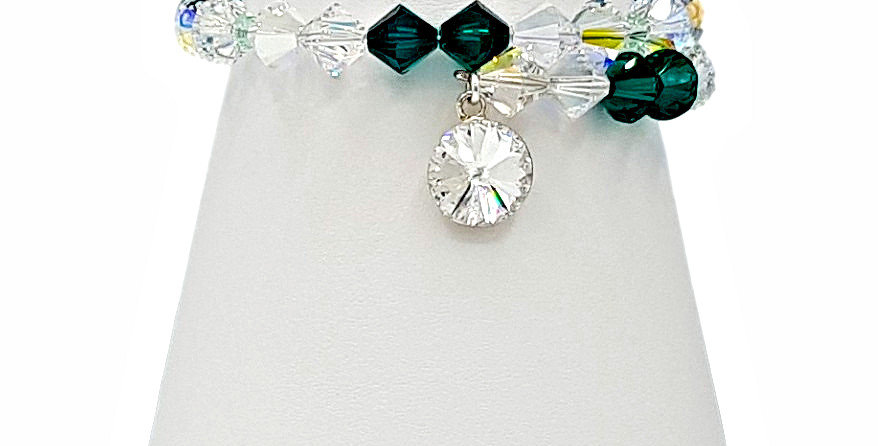 Green Swarovski crystal bracelet with charm
