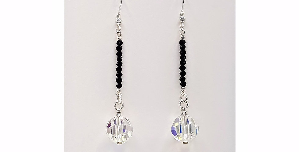 black spinel and Swarovski crystal earrings front view