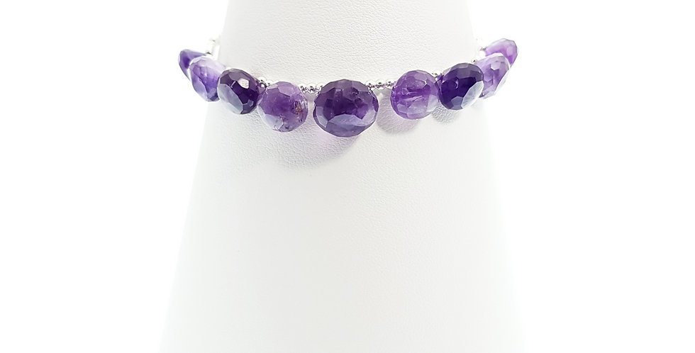 front view amethyst and sterling silver bracelet on stand