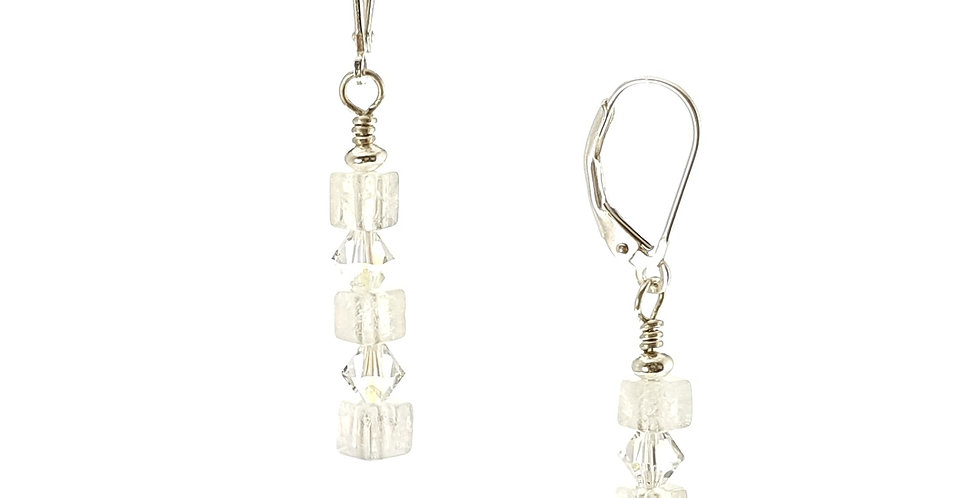 Rainbow moonstone, Swarovski crystals and sterling silver earrings