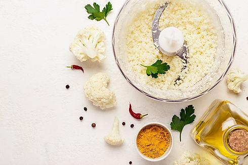 Cooking cauliflower rice closeup and ing
