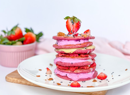 PINK STRAWBERRY TOASTED COCONUT PANCAKES