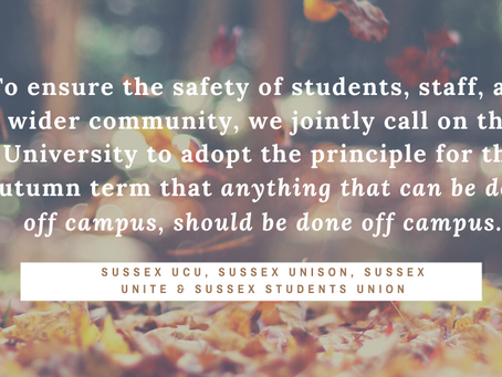 Joint statement by University of Sussex campus unions on reopening for teaching this term