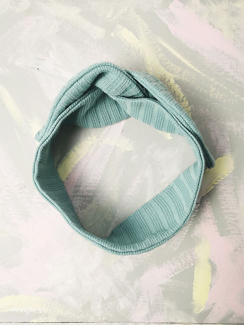 Cosy Knotted Headband - Mint Blue