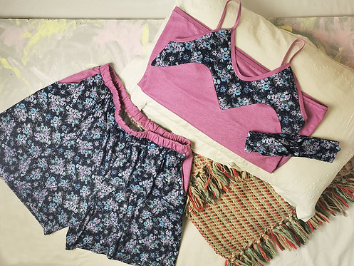 Navy Flowers Pyjama Set - Size L