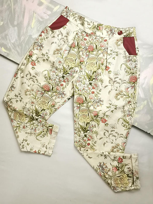 Cream Flowers Peg Leg Trousers - Size 16