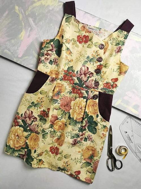 Antique Flowers Pinafore Dress -Size 18