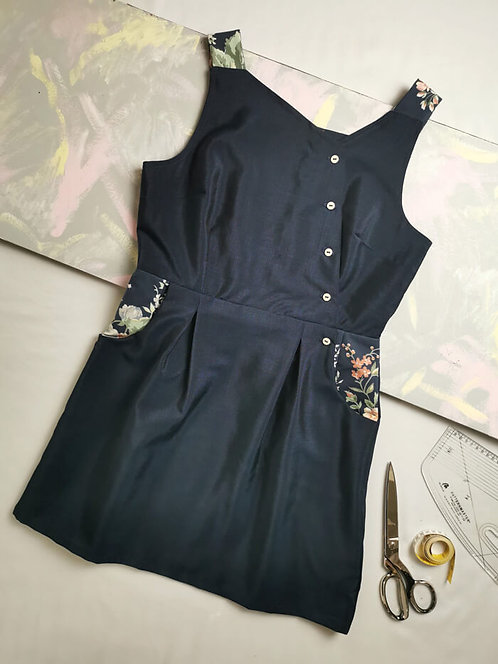 Navy Pinafore Dress -Size 14