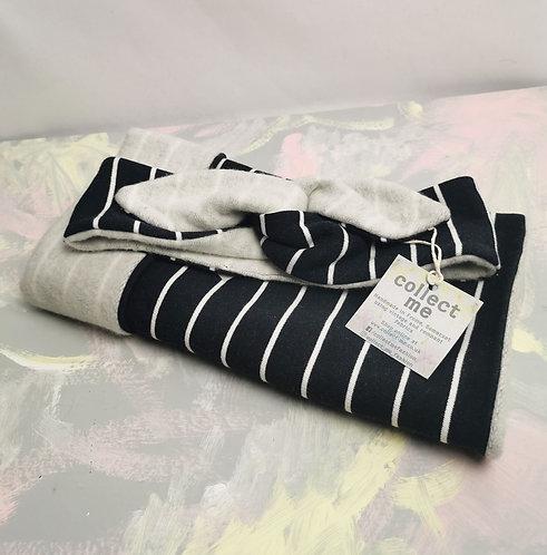Organic Cotton Headband and Snood Set - Navy Stripes