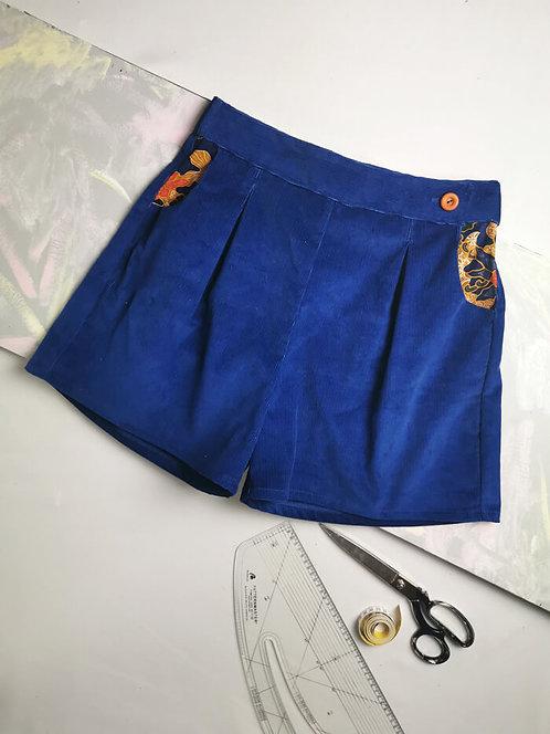 Blue Corduroy High Waisted Shorts - Size 12