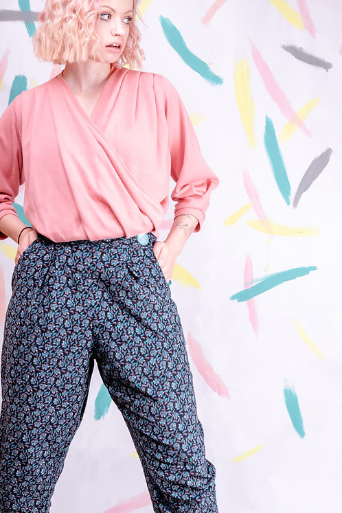 Teal Abstract Corduroy Peg Leg Trousers - Size 8