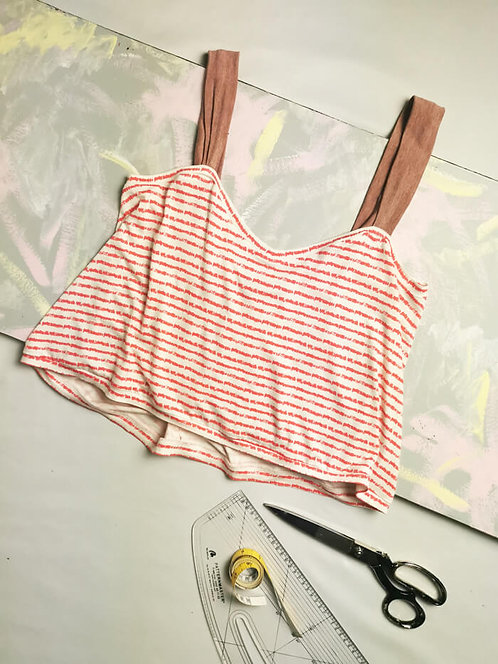 Coral Stripe Gathered Camisole - Size S