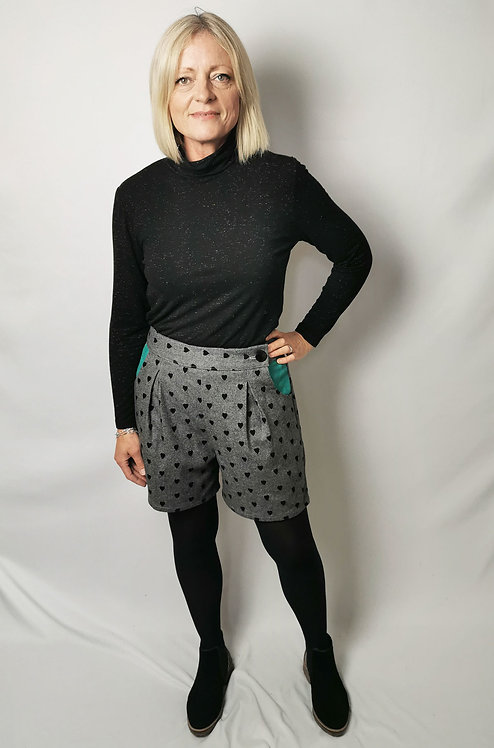 Flocked Hearts High Waisted Shorts - Size 12