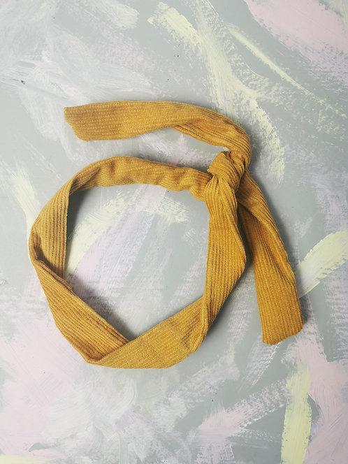 Twisty Wire Headband - Mustard Corduroy