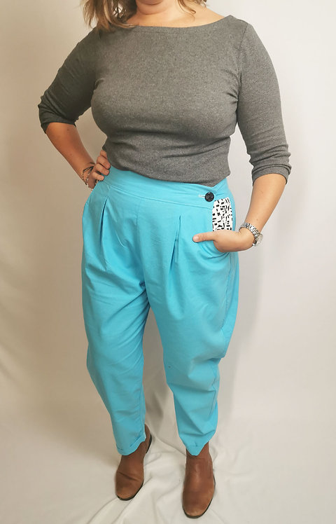 Bright Blue Peg Leg Trousers - Size 18