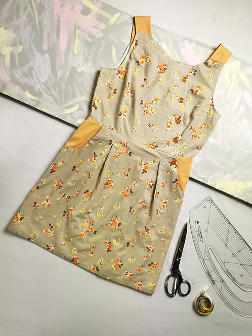 Grey and Orange Pinafore Dress -Size 12