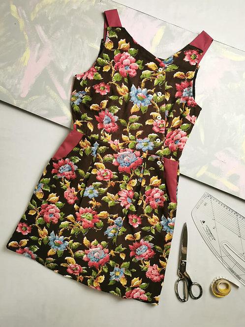 Vintage Flowers Pinafore Dress -Size 8