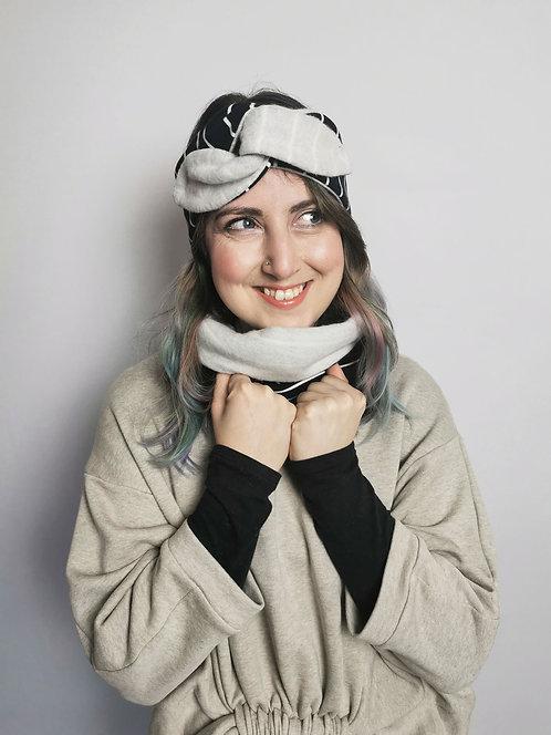 Cosy Organic Cotton Fleece Headband - Navy Stripes