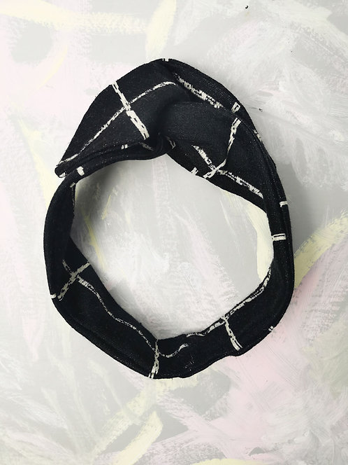 Cosy Knotted Headband - Black Check