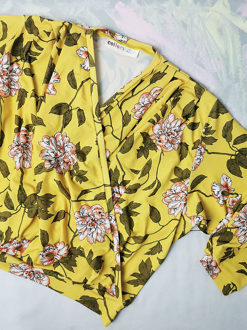 Yellow Flowers Dream Wrap Top - Size S