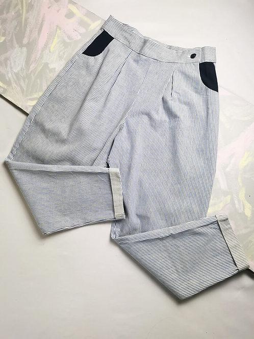 Blue Stripe Peg Leg Trousers - Size 12