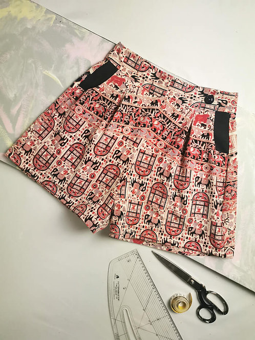 Indian Cotton High Waisted Shorts - Size 8