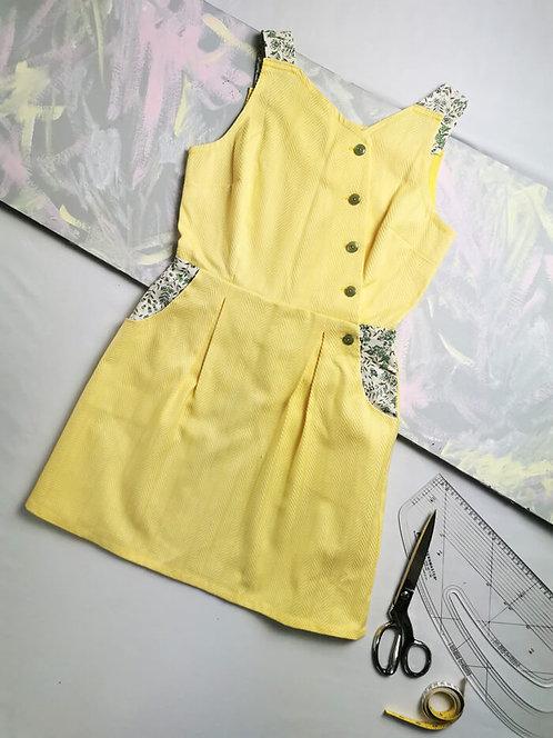 Yellow Cotton Pinafore Dress - Size 8