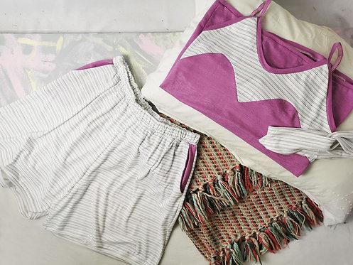 White Stripes Pyjama Set - Size M
