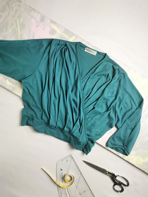 Teal Dream Wrap Top - Size L