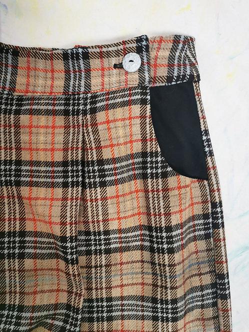 Brown Tartan Peg Leg Trousers - Size 18