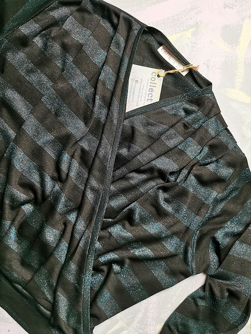 Teal Sparkle Dream Wrap Top - Size M
